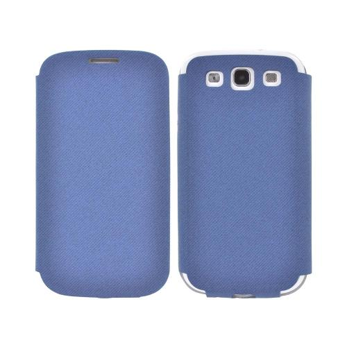 Geeks Protection Line (GPL) Snazzy Samsung Galaxy S3 Diary Flip Cover Case w/ Card Slot - Blue