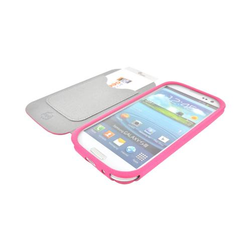 Geeks Protection Line (GPL) Snazzy Samsung Galaxy S3 Diary Flip Cover Case w/ Card Slot - Hot Pink