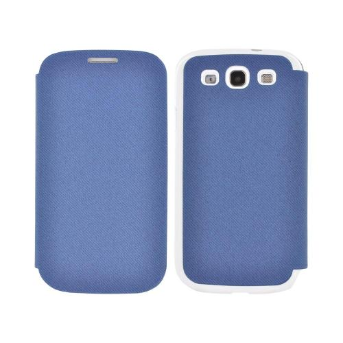 Geeks Protection Line (GPL) Snazzy Samsung Galaxy S3 Diary Flip Cover Hard Case w/ Card Slot - Blue/ White
