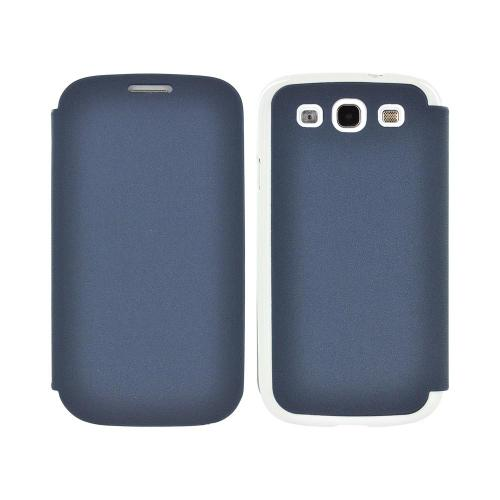 Geeks Protection Line (GPL) Snazzy Samsung Galaxy S3 Leather Diary Flip Cover Hard Case w/ Card Slot - Blue/ White