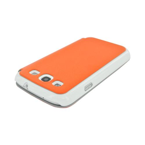 Geeks Protection Line (GPL) Snazzy Samsung Galaxy S3 Leather Diary Flip Cover Hard Case w/ Card Slot - Orange/ White