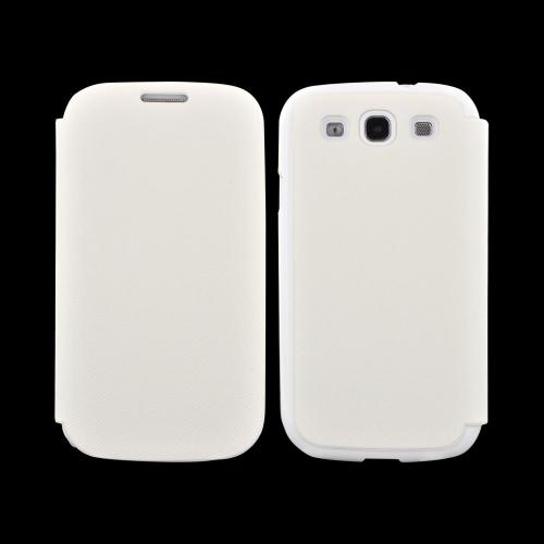 Geeks Protection Line (GPL) Snazzy Samsung Galaxy S3 Leather Diary Flip Cover Hard Case w/ Card Slot - White