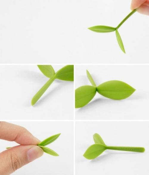 Bean Sprout Little Bookmark, Seedling Bookmark, Plant Shoot Bookmark (Set of 4) [Green]
