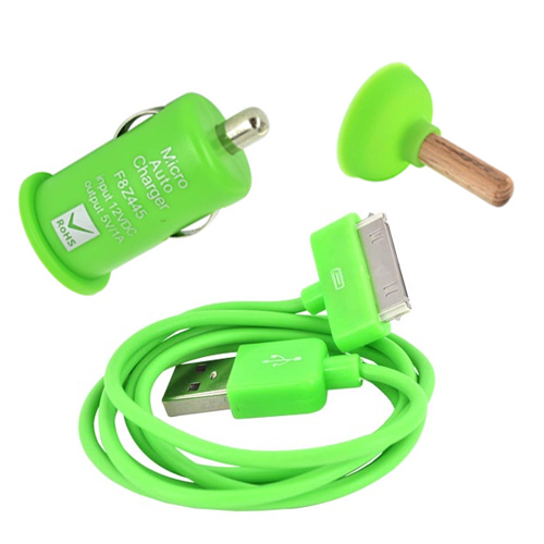 Apple iPhone/ iPod Geeky Green Charging Bundle W/ Green iPhone/ iPod Charge/ Sync Data Cable, Green USB Car Charger Adapter, and Green Plunger Stand