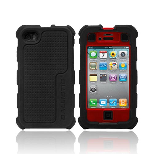 Original Ballistic AT&T/ Verizon Apple iPhone 4, iPhone 4S HC Hard Case Combo w/ Holster & Built-In Screen Protector, HA0778-355 - Black/ Red