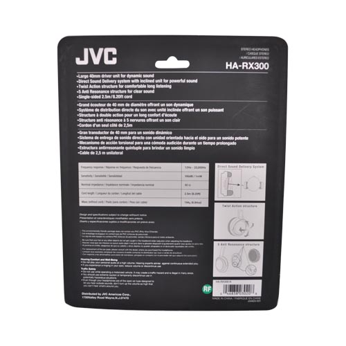 Original JVC Universal Extra Bass Stereo Headset, HARX300 - Black (3.5mm)