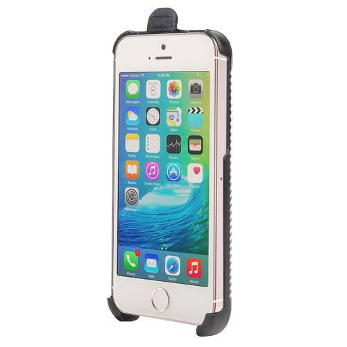 [Apple iPhone SE/5/5S] Case,  [Black]  Supreme Protection Slim Matte Rubberized Hard Plastic Case Cover with Kickstand and Swivel Belt Clip