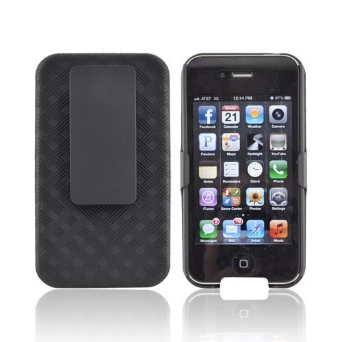 Premium AT&T/Verizon Apple iPhone 4 Rubberized Holster and Case Combo w/ Kickstand - Black