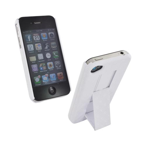 Premium AT&T/Verizon Apple iPhone 4 Rubberized Holster and Case Combo w/ Kickstand - Solid White