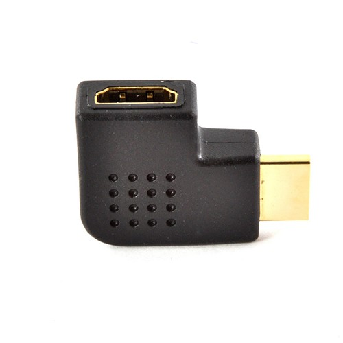 Black 90 Degree HDMI Right Angle Port Saver Adapter (Male to Female) - Vertical Flat Left
