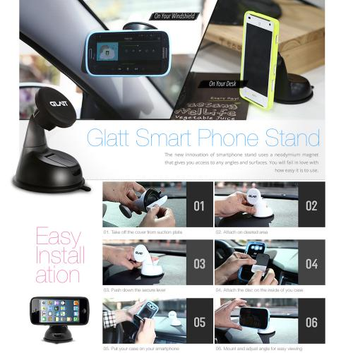 Glatt White Universal Magnetic Car Mount/ Holder for Phones/ MP3 Players