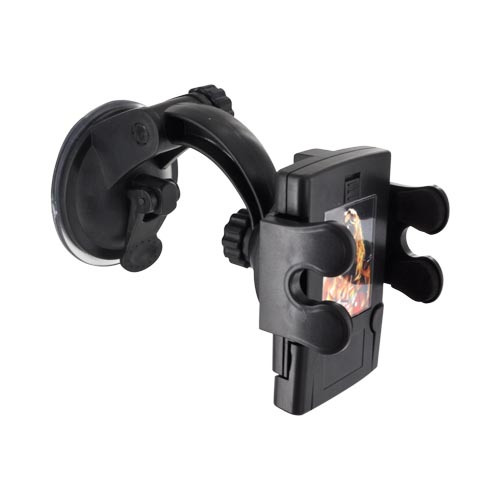 Universal Adjustable Windshield/ Dashboard Suction Car Mount - Black
