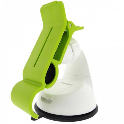 Lime Green/ White Phone/ MP3 Car Dash/ Windshield Mount w/ 360 Degree Rotation - Mount Your Device (Even Galaxy Note Size) w/ 1 Hand!