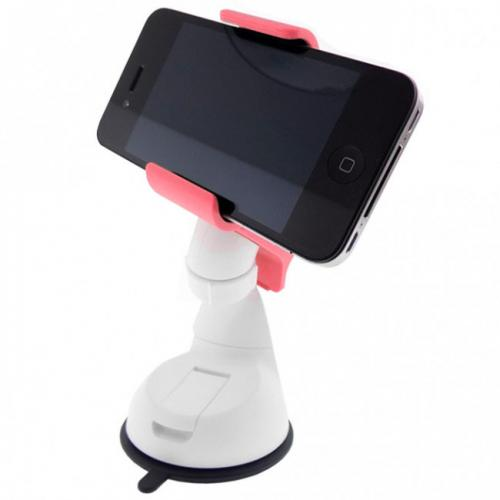 Melon Pink/ White Universal Phone/ MP3 Car Dash/ Windshield Mount w/ 360 Degree Rotation - Mount Your Device (Even Galaxy Note Size) w/ 1 Hand!