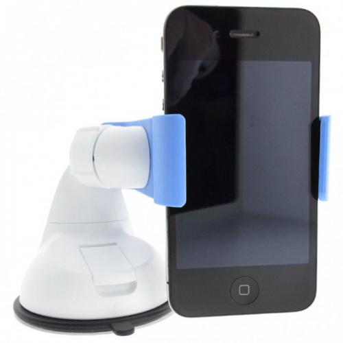 Sky Blue/ White Phone/ MP3 Car Dash/ Windshield Mount w/ 360 Degree Rotation - Mount Your Device (Even Galaxy Note Size) w/ 1 Hand!
