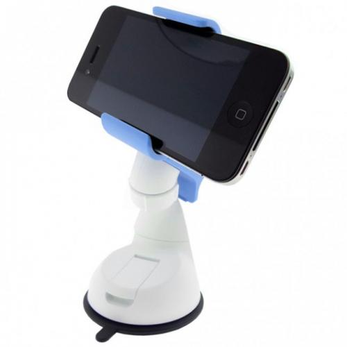 Sky Blue/ White Universal Phone/ MP3 Car Dash/ Windshield Mount w/ 360 Degree Rotation - Mount Your Device (Even Galaxy Note Size) w/ 1 Hand!