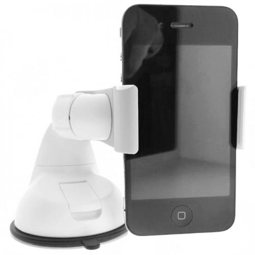 White Universal Phone/ MP3 Car Dash/ Windshield Mount w/ 360 Degree Rotation - Mount Your Device (Even Galaxy Note Size) w/ 1 Hand!