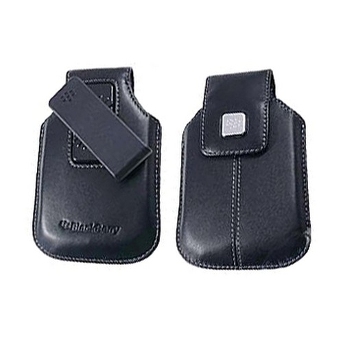 Original Blackberry Curve 8900 Leather Holster w/ Swivel Belt Clip - Black