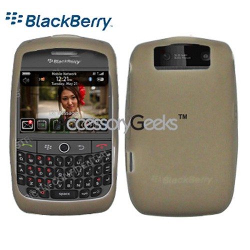 Original Blackberry Curve 8900 Rubber Silicone Skin Case - Smoke Grey