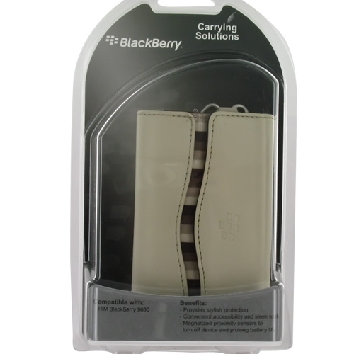 Original Blackberry Bold 9650 & Tour 9630 Horizontal Leather Pouch Carry Case - Sandstone