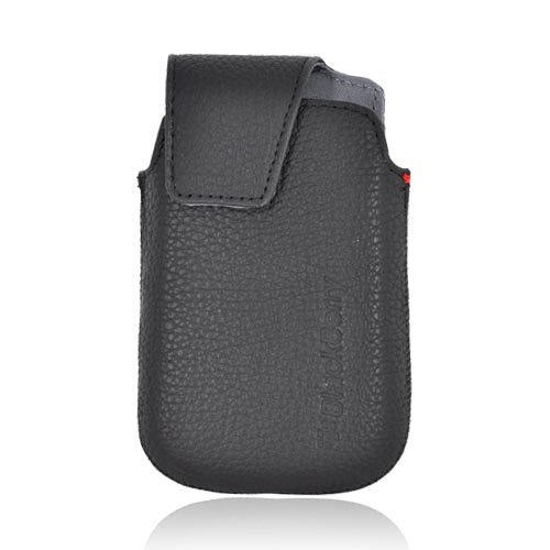 Original Blackberry Bold 9900, 9930 Leather Pocket Pouch Case w/ Magnetic Flap & Rotating Belt Clip, HDW-38843-001 - Black