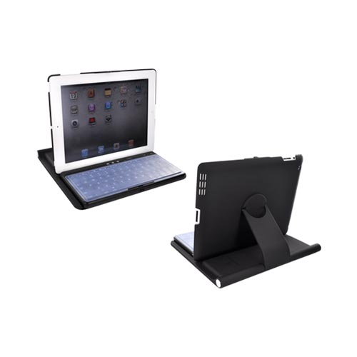 Premium Apple iPad 2 Wireless Bluetooth Keyboard & Rubberized Hard Case Stand w/ Micro USB Cable, HECRID2RTKPBK - Black