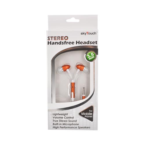 Universal Earbud Stereo Headset (3.5mm) w/ - Orange/White