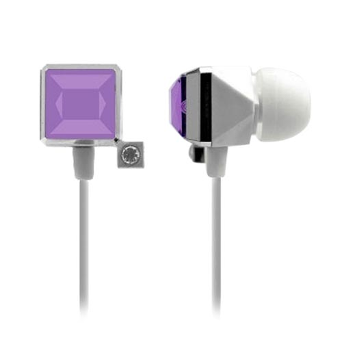 Cellet Diamond Ear Drop Jewel Handsfree Headset (3.5mm) - White/Purple