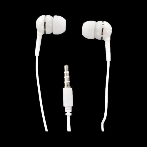 Universal Stereo Handsfree Headset Earbud w/ Remote, Mic, & 3.5mm to 2.5mm Adapter - White