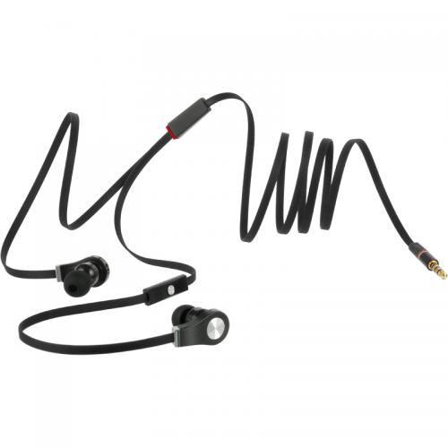 Universal Tangle Free Flat Wire [3.5mm] Headphones w/ Mic [Black]