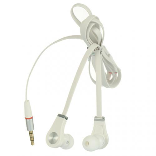 Universal Tangle Free Flat Wire [3.5mm] Headphones w/ Mic [White]
