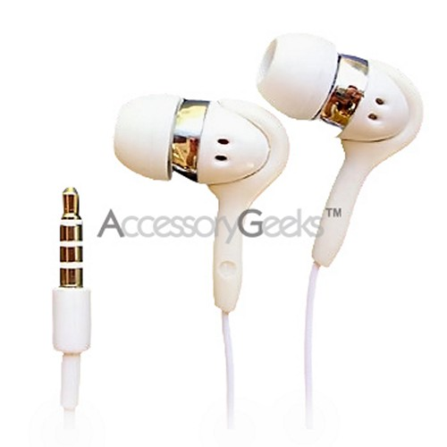 Universal White Earbud Stereo Headset w/ Mic & Extra Earbuds
