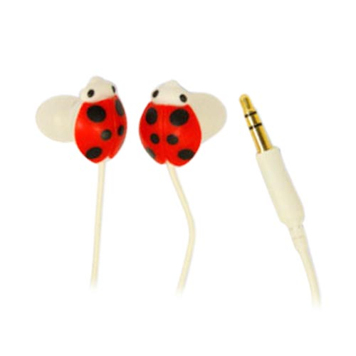 Universal Lady Bug Ear Bud Headset (3.5mm) - Lady Bug on White