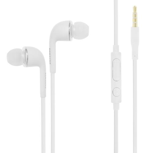 Samsung White [3.5mm] Flat Cable Stereo Headset Earbuds w/ Volume Control & Mic