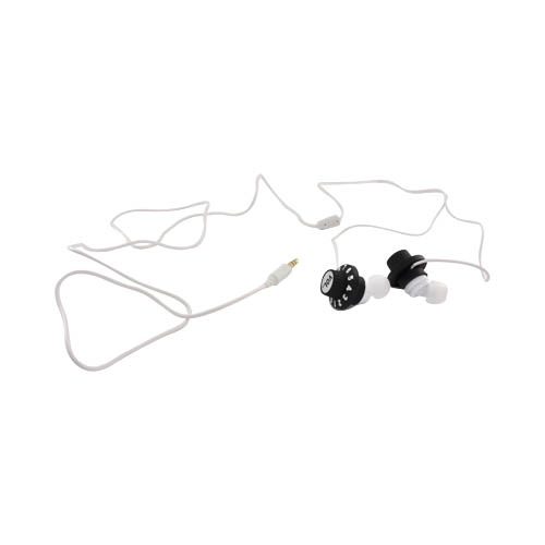 Volume Knob Ear Bud Headset (3.5mm) - Black Volume Knob on White
