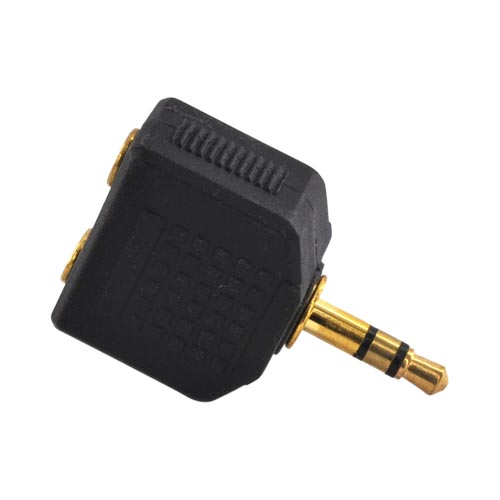 Cellet Universal Headset Adapter w/ Double 3.5mm Holes - Black