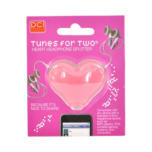 Universal Audio Headset Splitter (3.5mm) - Pink Heart