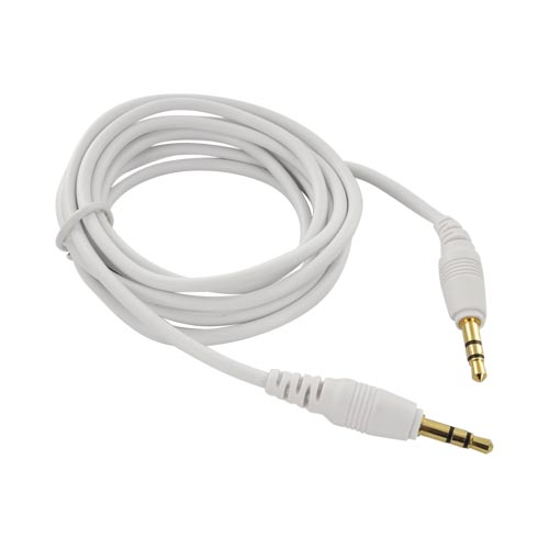 Universal 3.5mm Stereo Audio Auxiliary 6ft Cable (3.5mm to 3.5mm) – White