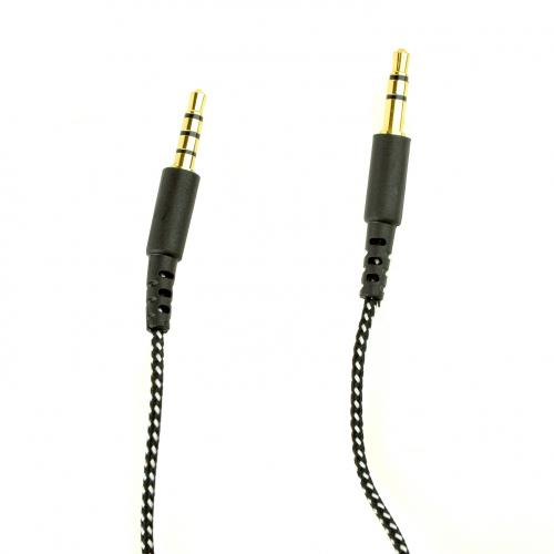Universal Black/White Braided Auxiliary Cable with Microphone and Multi-Function Button (3.5mm)