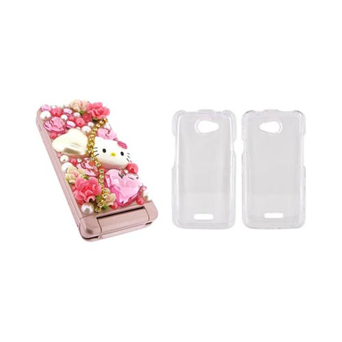 HTC One X Hello Kitty DIY Bundle w/ Officially Licensed Hello Kitty Decoration Art Kit & Clear Hard Case