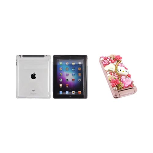 Apple iPad 2/3/4 Hello Kitty DIY Bundle w/ Officially Licensed Hello Kitty Decoration Art Kit & Clear Hard Case