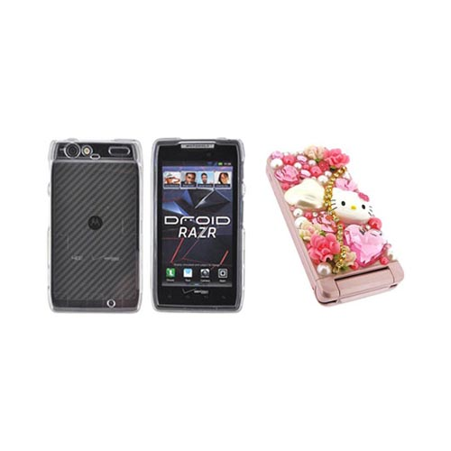 Motorola Droid RAZR Hello Kitty DIY Bundle w/ Officially Licensed Hello Kitty Decoration Art Kit & Clear Hard Case