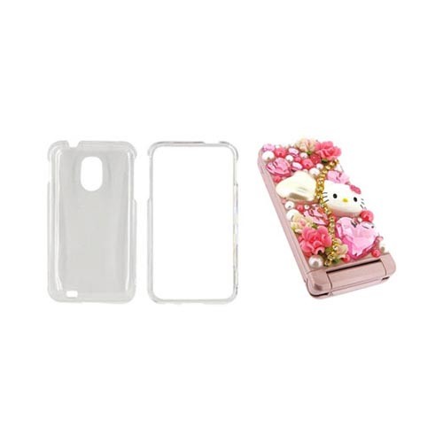 Samsung Epic 4G Touch Hello Kitty DIY Bundle w/ Officially Licensed Hello Kitty Decoration Art Kit & Clear Hard Case