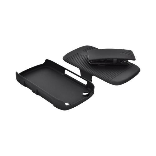 BlackBerry Curve 9310/9320 Rubberized Hard Case w/ Holster, Stand, & Belt Clip - Black