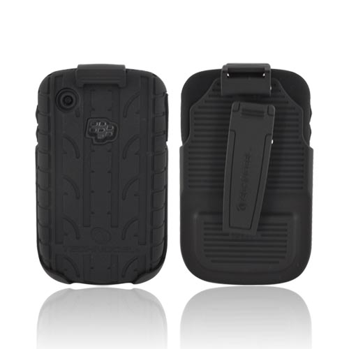Premium Blackberry Curve 3G 9330, 9300, 8530, 8520 Silicone on Hard Case & Holster w/ Rotating Belt Clip - Black Tire Tread