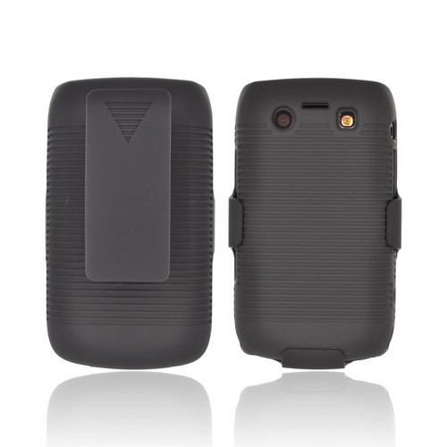 Blackberry Bold 9780 9700 Rubberized Hard Case and Holster Combo w/ Stand & Clip - Black