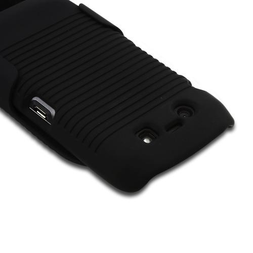 BlackBerry Torch 9860, 9850 Rubberized Hard Case & Holster w/ Swivel Belt Clip - Black