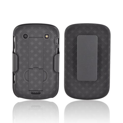 Blackberry Bold 9900, 9930 Rubberized Textured Hard Case & Holster w/ Rotating Belt Clip & Stand Combo - Black