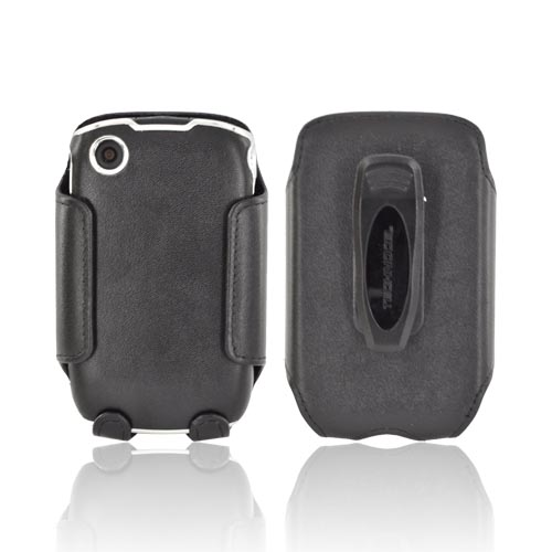 Premium Blackberry Curve 3G 9330, 9300, 8530, 8520 Leather Molded Hard Case & Holster w/ Rotating Belt Clip - Black/ Chrome
