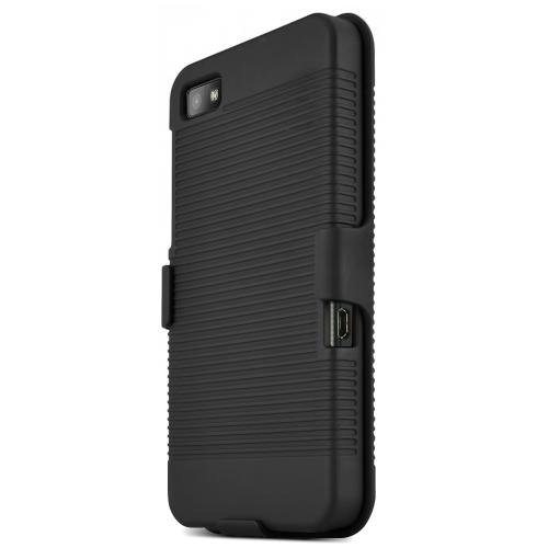 Black Rubberized Hard Case & Holster Combo w/ Kickstand & Swivel Belt Clip for Blackberry Z10